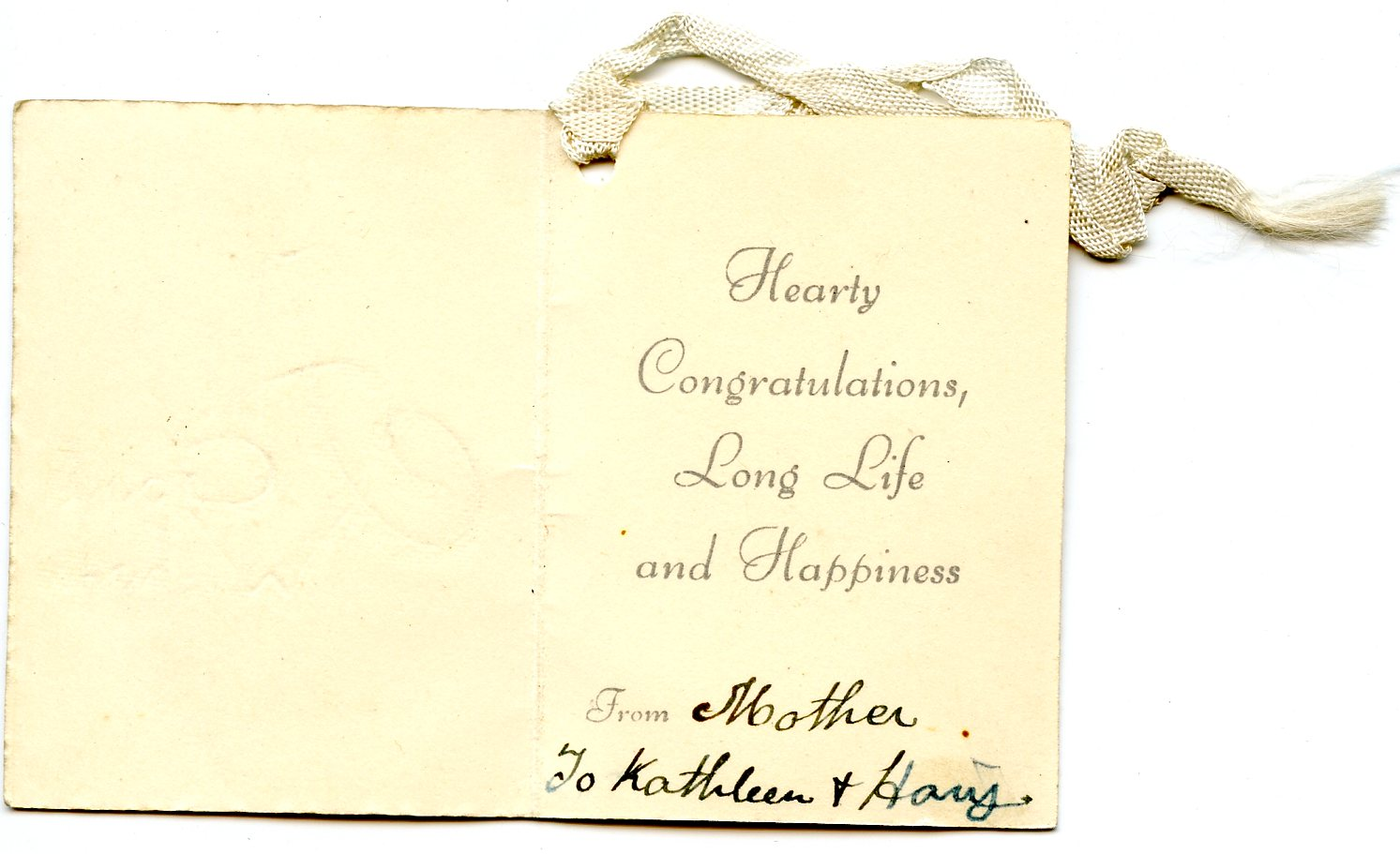Crout K And H Message In Wedding Card Seeking Susan Meeting Marie Finding Family