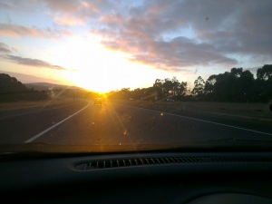 Early morning drive to the DropZone along the Southern Expressway, South Australia. 8Feb2013.