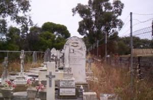 Memorials ready to be crushed for roadworks. Karakatta Cemetery, WAustralia