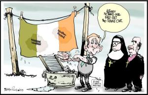 Magdalene Laundries.Martyn Turner cssrtoon. Irish Times 20Feb2013