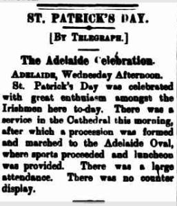 ST PATRICK'S DAY. B.H.MINER. 1897.re Adelaide