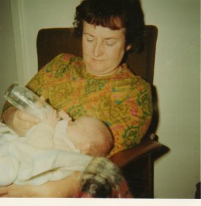 "I wrote on the back: ""Nana and Jarren (Aged 5 weeks the baby, that is) May 1970"""