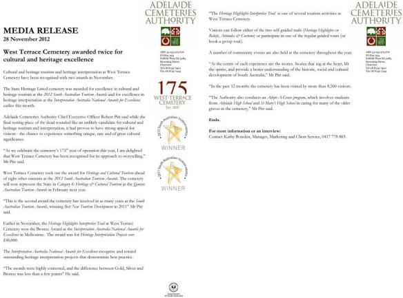 The West Terrace Cemetery, Adelaide has Heritage status and is feted and awarded...