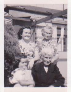 Four Generation: Front: Me and Eliza Jane. BACK:  Mum and Nana, 1950. (c) C.A.Crout-Habel