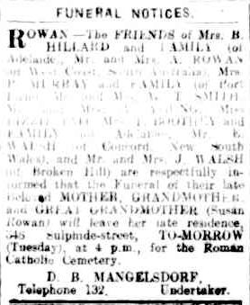 ROWEN. Susan. funeral 10Apr1922