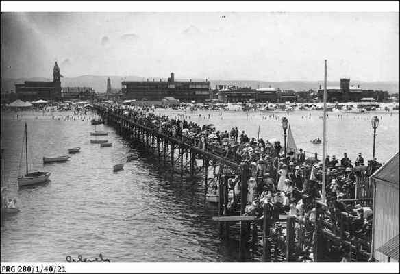 Proclomation Day. on Glenelg jetty. 1913