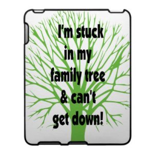 Cartoon - genealogy stuck in fam tree