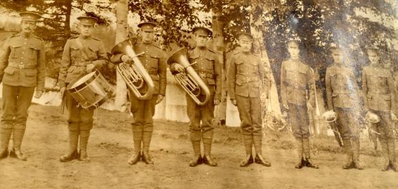 Bandmaster Harry Eden Crout (far left) circa 1919