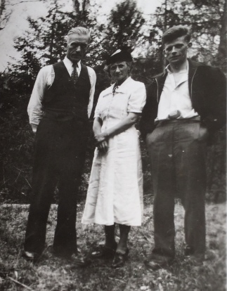 Henry Eden Crout, Emily Jacobs and Harry Crout (son) circa 1945